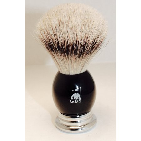 GBS 100% Silvertip Badger Bristle Shaving Brush Black Handle with Chrome Base Comes with Free Stand from