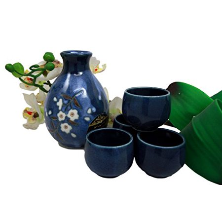 Atlantic Collectibles Japanese 8oz Ceramic Blue Cherry Blossom Sake Set Flask With Four -
