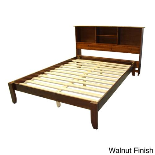 EpicFurnishings Scandinavia King-size Solid Bamboo Wood Platform Bed with Bookcase-style Headboard