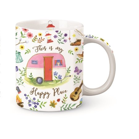 This is My Happy Place Camper Camping Coffee Mug Porcelain 13 Ounces