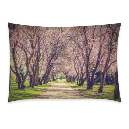 ZKGK Beautiful Pink Sakura Tree Floral Print Alley Landscape Park Pillowcase for Couch Bed 20 x 30 Inches,Nature Vivid Flower Forest Soft Pillow Cover Case Shams Decorative ()