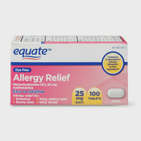 (2 pack) Equate Dye Free Allergy Relief Tablets, 25 mg, 100 Count