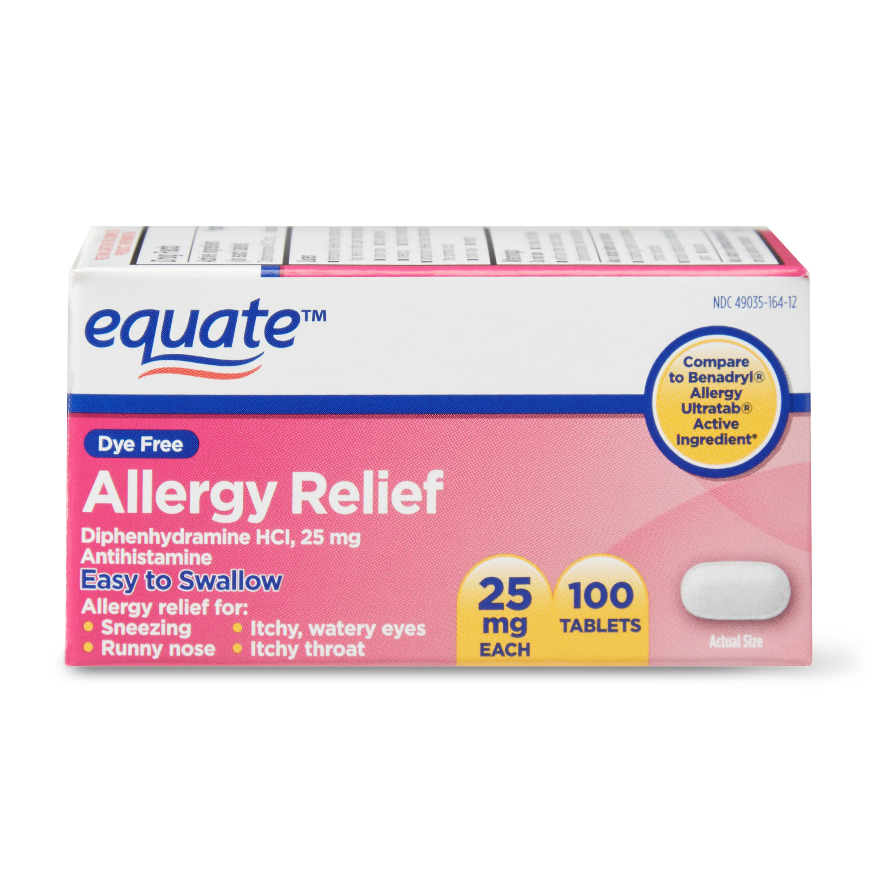 Equate Dye Free Allergy Relief Tablets, 25mg, 100 Count