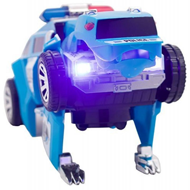 Techege Toys Transforming Bump'n'Go Police Car Transformer Kids Lights and Sounds Fun Police Squad Bear