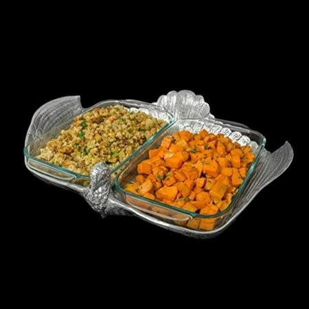 arthur court designs aluminum pyrex casserole dish holder 2 quart pyrex double base turkey casserole (Arthur Court Designs Turkey)