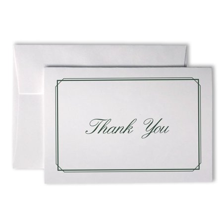 Elegant Striped Thin Border Thank You Cards - 48 Cards & Envelopes (Green)