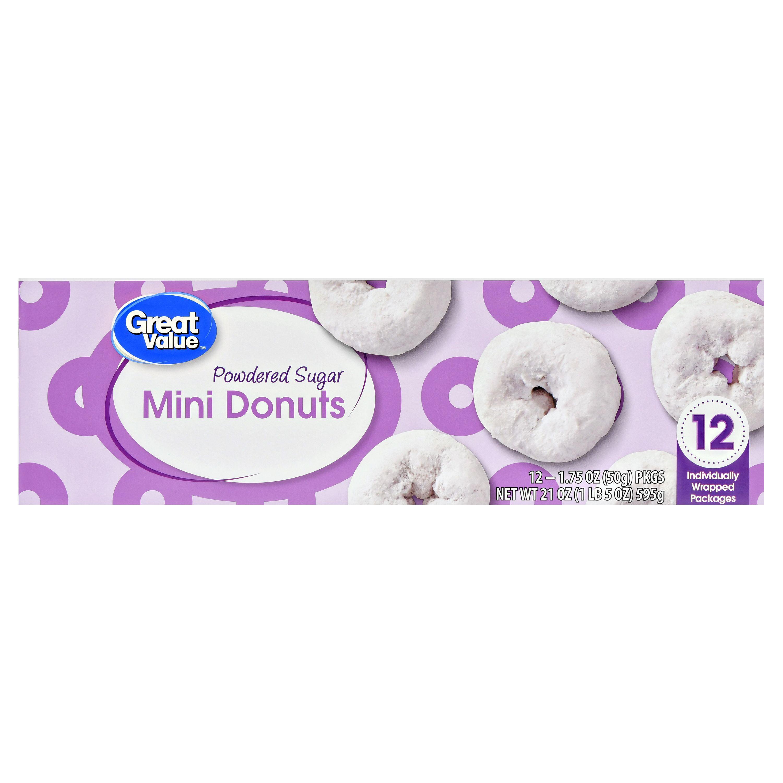 Great Value Powdered Sugar Mini Donuts, 21 oz, 12 Count