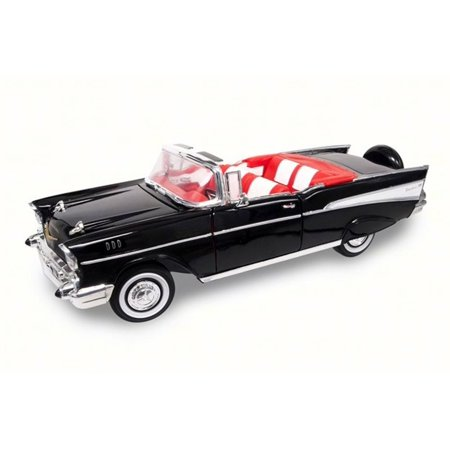 1957 Chevrolet Bel Air Convertible, Black - Road Signature 92108 - 1/18 Scale Diecast Model Toy Car