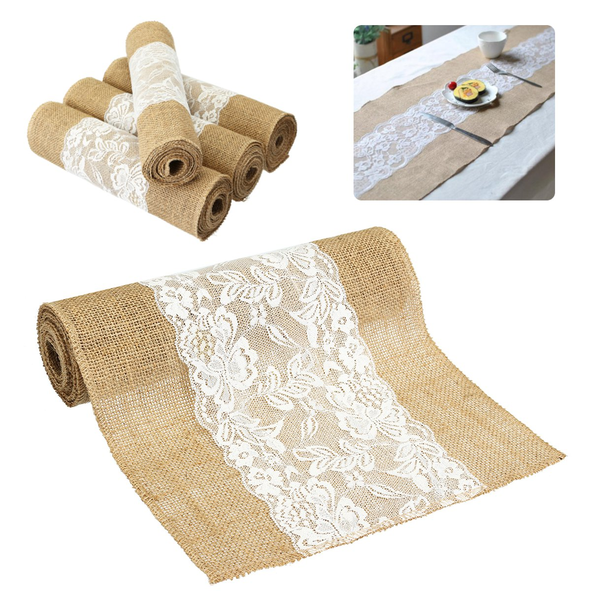 4 Size Vintage Natural Burlap Jute Lace Table Runner Fabric Wedding Party  Decor