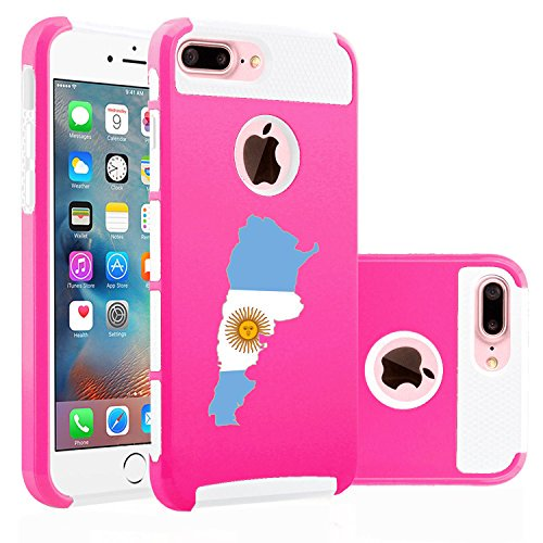 da6379f602f For Apple iPhone (7 Plus) Shockproof Impact Hard Soft Case Cover Argentina  Argentinian (Hot Pink-White) - Walmart.com