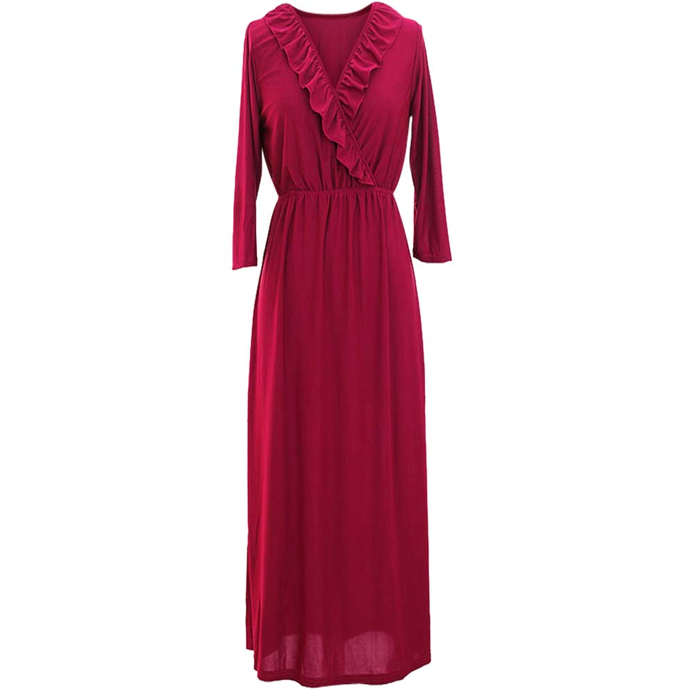 Luxury Divas Luxury Divas Long Sleeve Jersey Knit Maxi Dress With