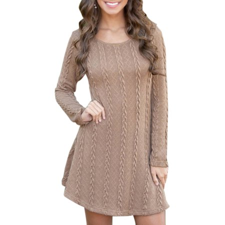 Womens Slim Mini Dress Round Neck Long Sleeve Jumper Knitted Sweater Casual Party