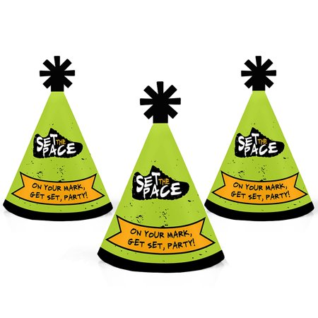 Set The Pace - Running - Mini Cone Track, Cross Country or Marathon Party Hats - Small Little Party Hats - Set of 10