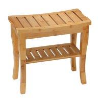 Cortesi Home Mack Natural Bamboo Small Bench with Shelf, 19x10x18