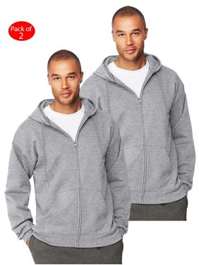 Hanes Mens Ultimate Cotton; Heavyweight Full Zip Hoodie, Color: Oxford Grey, Size: 3XL --- PACK OF 2 (Men's Athleticwear - Original Company Packing)