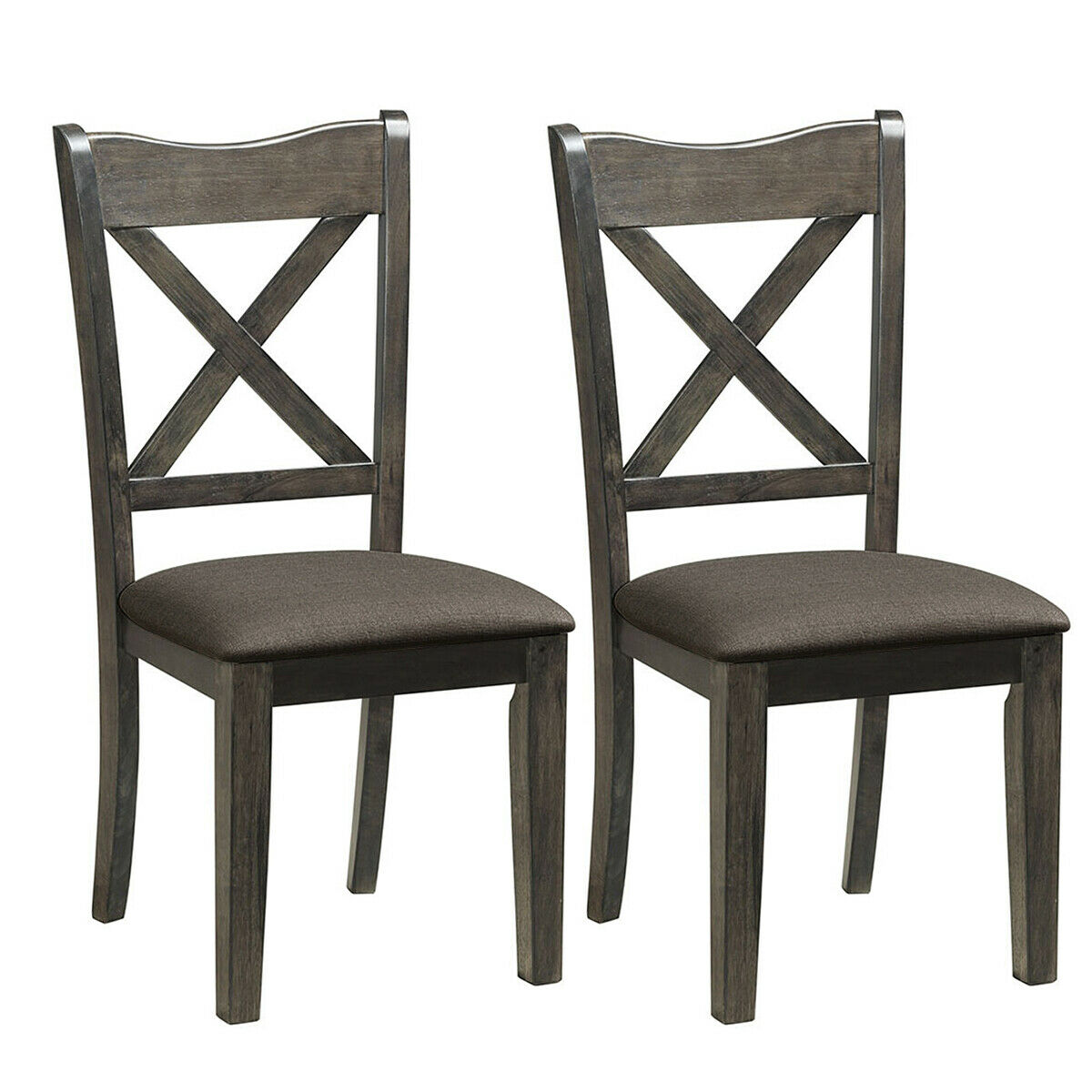 Gymax Set Of 2 Solid Wood Dining Side Chair X Back Linen