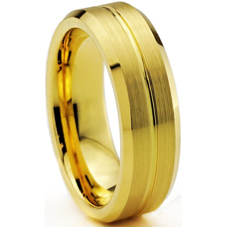 Tungsten Wedding Band Ring 6mm for Men Women Comfort Fit 18K Yellow Gold Plated Beveled Edge Brushed Polished Lifetime Guarantee - image 1 de 5