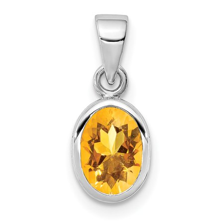 925 Sterling Silver Yellow Citrine Oval Pendant Charm Necklace Gemstone Gifts For Women For Her