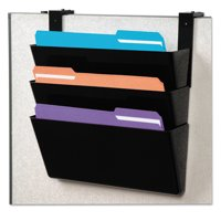 deflecto DocuPocket Stackable Three-Pocket Partition Wall File, Letter, 13 x 4 x 7, Black -DEF73504