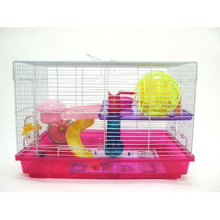 YML H1812PK Clear Plastic Dwarf Hamster Mice Cage with Color Accessories, Pink