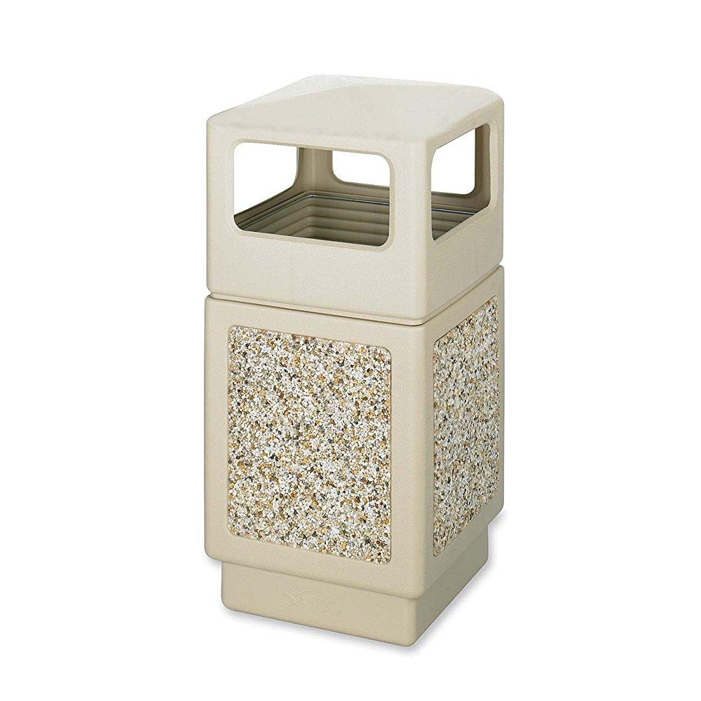Safco products 9472tn canmeleon aggregate panel waste receptacle, side open, 38-gallon, tan