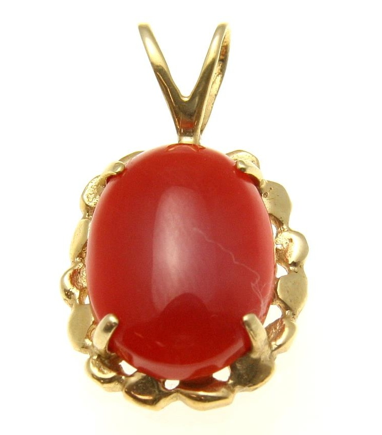 Geniune natural red coral pendant set in solid 14k yellow gold 14.5mm by