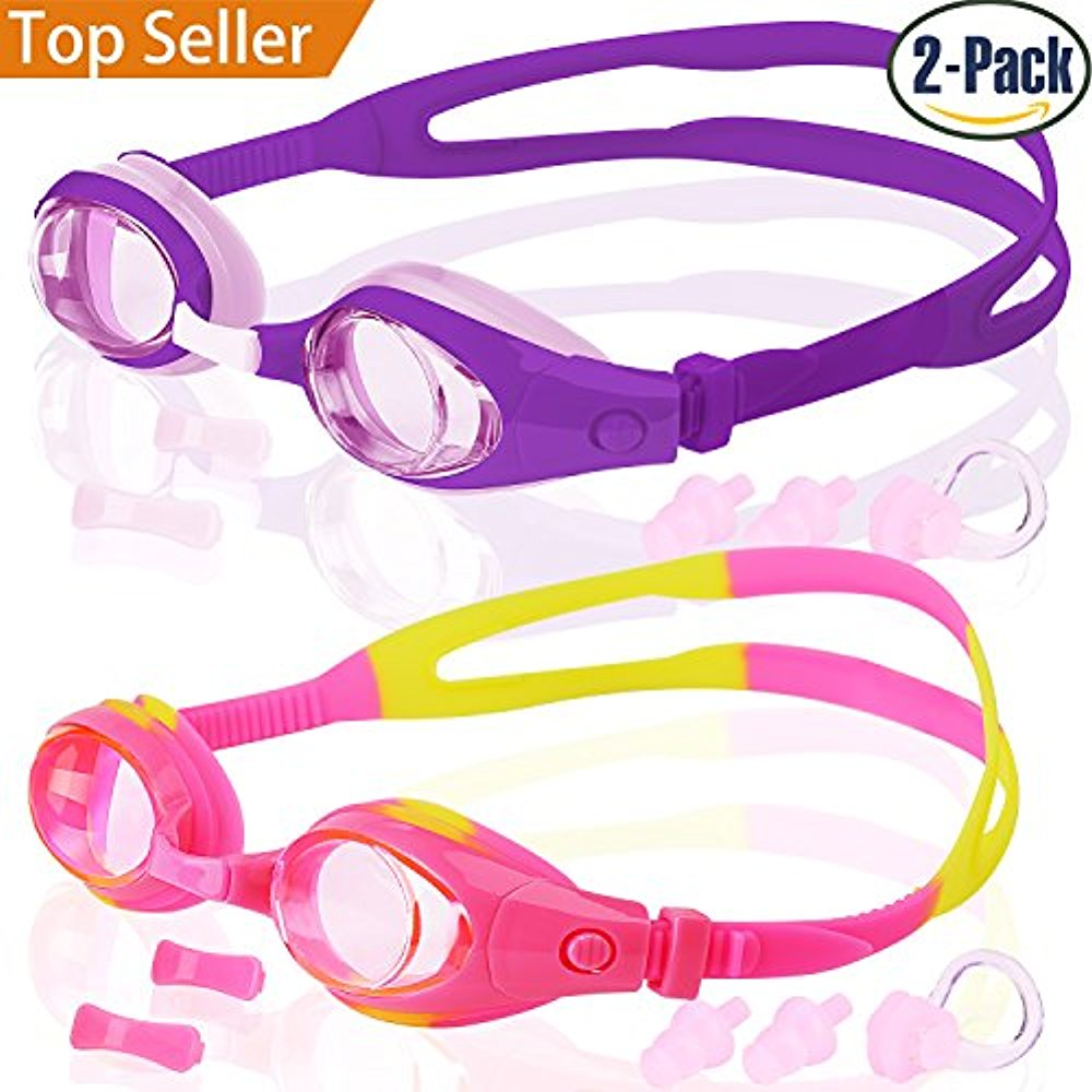Kids Swim Goggles, Pack of 2, Swimming Glasses for Children and Early Teens from 3 to 15 Years Old, Anti-Fog,... by LIVEDITOR LIGHTING
