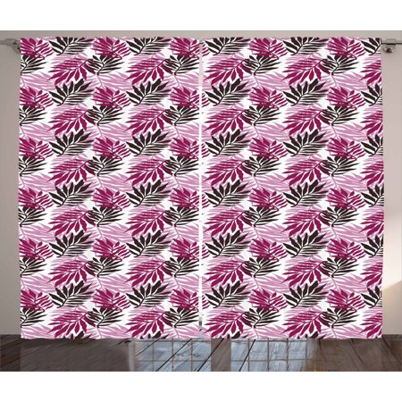 Exotic Curtains 2 Panels Set, Tropical Lush Rainforest Jungle Leaves Forest Hawaiian Beach Theme, Window Drapes for Living Room Bedroom, 108W X 108L Inches, Baby Pink Magenta Seal Brown, by Ambesonne - Hawaiian Themed Bedrooms