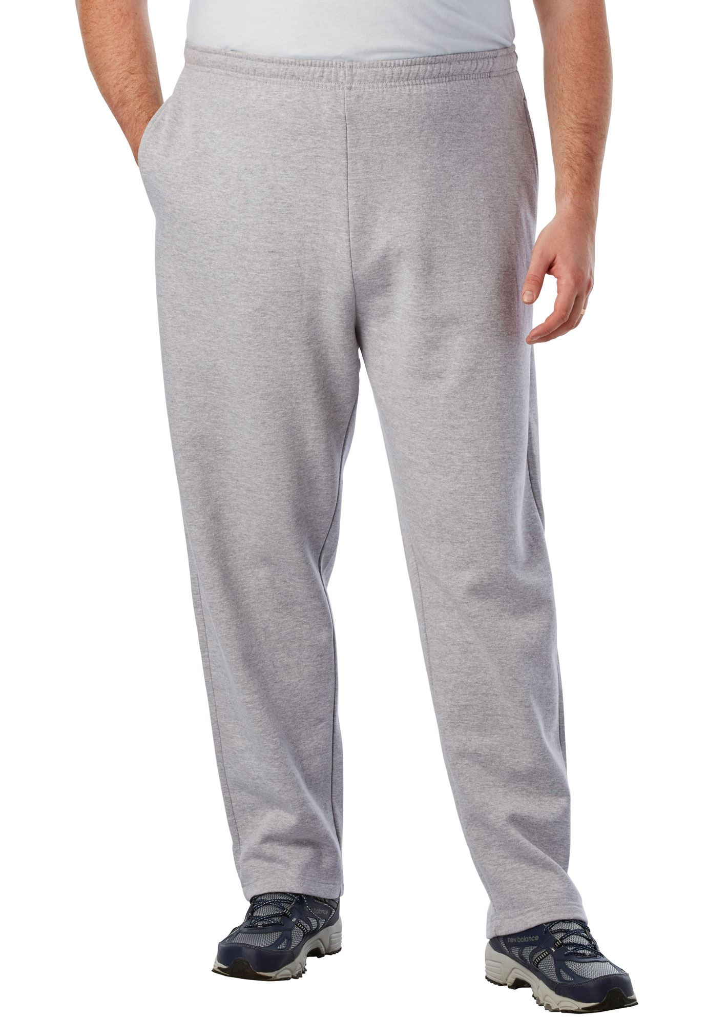 Kingsize Men's Big & Tall Fleece Open-bottom Pants