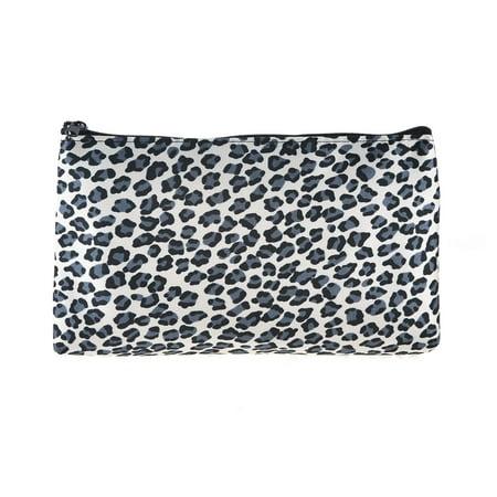 Unique Bargains Women Zippered Leopard Printed Toiletries Cosmetic Makeup Holder Pouch Bag Black Gray](Leopard Print Makeup Tutorial Halloween)