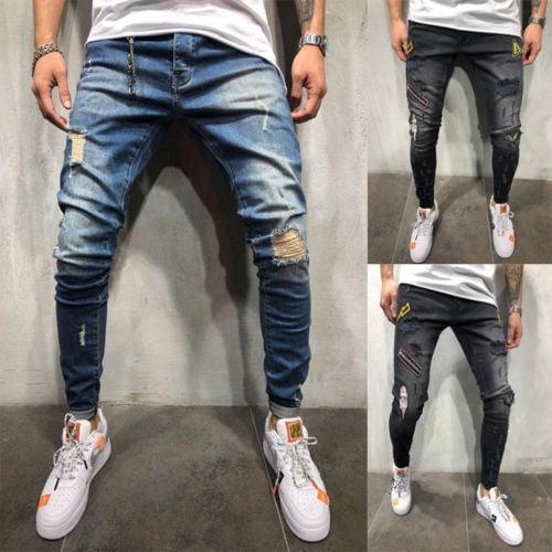 Wondere Mens Skinny Stretch Denim Biker Jeans,Casual Destroyed Taped Slim Fit Pants