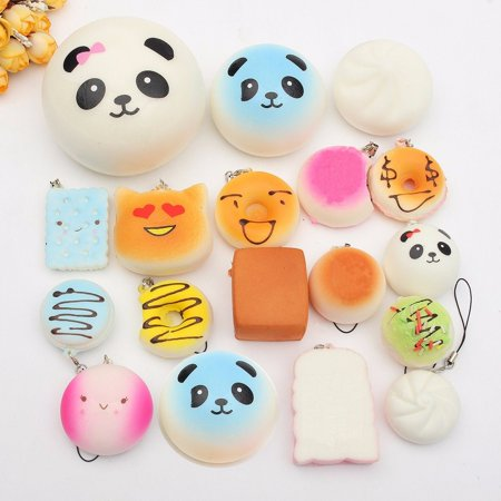 18Pcs Jumbo Cute Squishy Toys Set Bread Bun Panda Donut Phone Strap Pendent Key Chain Hanging Decor Christmas Gift for $<!---->
