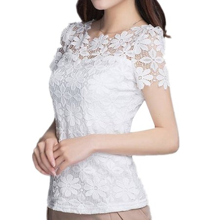 Vintage Women Short Sleeve Lace Crochet Slim Tops Blouse Pullover Summer
