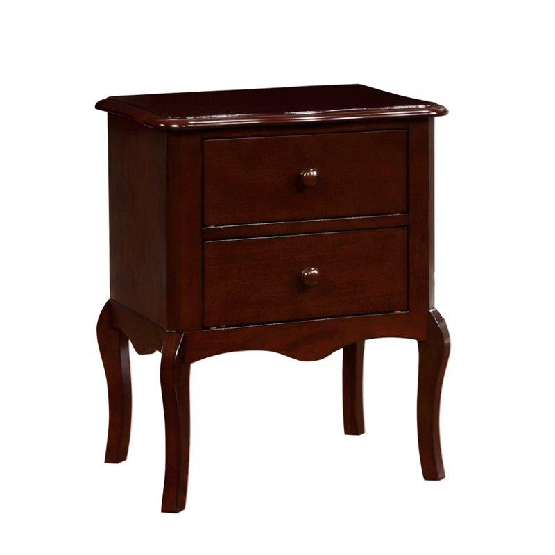 Furniture of America Torrez 2 Drawer Nightstand in Espresso
