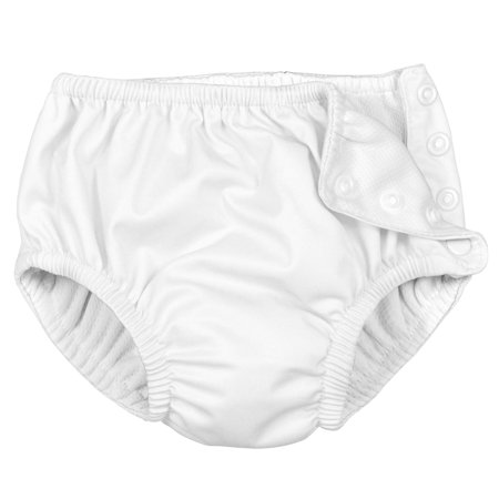 i play Unisex Reusable Absorbent Baby Swim Diapers - Swimming Suit Bottom | No Other Diaper Necessary White 18
