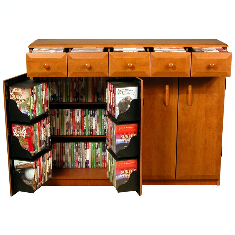 Venture Horizon CD DVD Media Storage Cabinet With Drawers-Oak/Black