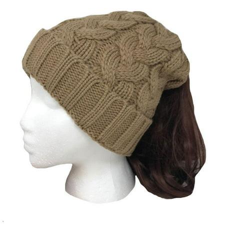 b0c17733d56 Casaba - Casaba Womens Ponytail Hair Bun Hole Cuffed Beanie Toboggan Cap Hat  Warm Knitted - Walmart.com