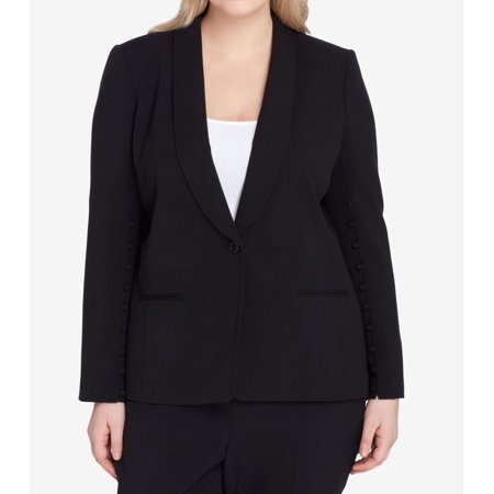 Tahari by ASL Womens Plus Button-Detail Blazer