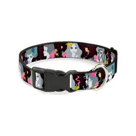 Buckle-Down Princess Silhouettes Dots Black/Purple/Gray/Multicolor Disney Dog Collar Plastic Clip Buckle, Large
