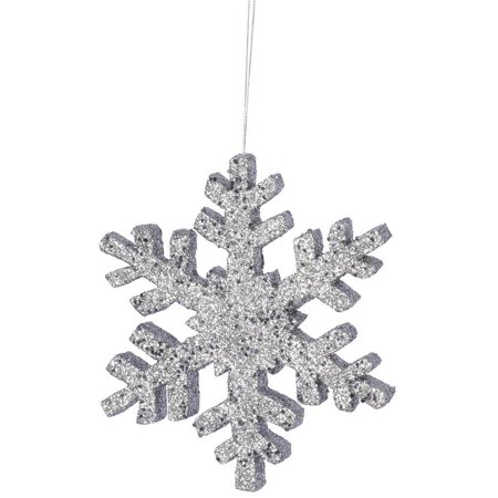 "Vickerman 331110 - 8"" Pewter Outdoor Glitter Snowflake Christmas Tree Ornament (L134487)"
