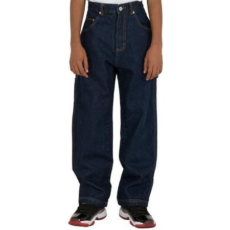Vibes Boy's 14.5 oz Denim Carpenter Jeans Relax Fit Dark Indigo Wash - Boys Clothing Clearance