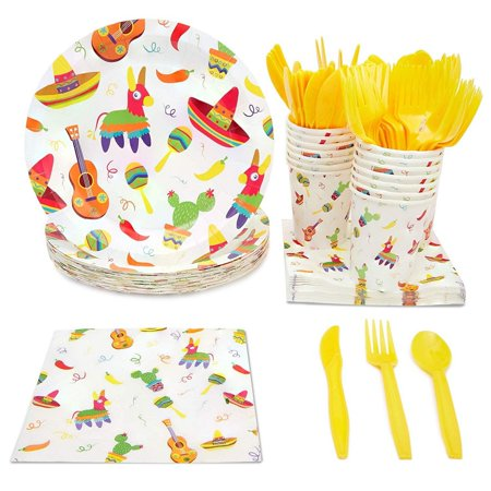 Girl Baby Shower Plates And Napkins (Disposable Dinnerware Set - Serves 24 - Mexican Fiesta Party Supplies for Birthdays, Cinco de Mayo - Includes Plastic Knives, Spoons, Forks, Paper Plates, Napkins,)