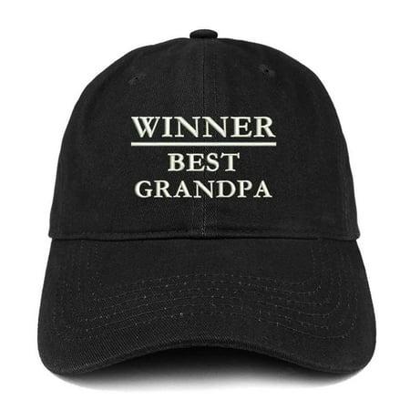 Trendy Apparel Shop Winner Best Grandpa Embroidered Low Profile Soft Cotton Baseball Cap - (Best Low Cap Stocks)
