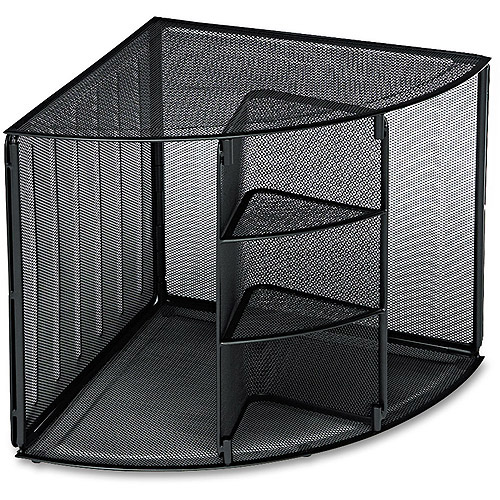 Rolodex Mesh Corner Desktop Shelf, 5 Sections, Black