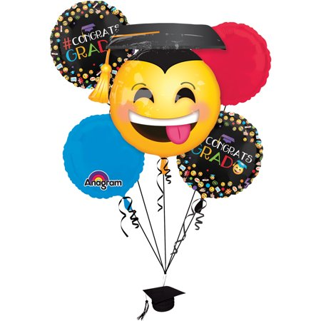 Anagram Awesome Grad Congrats Emoji Emoticon Decor 6pc Balloon Pack (Congratulations Balloons)