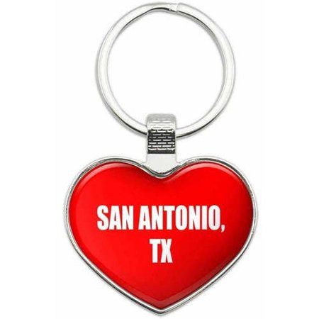 San Antonio TX - City State Metal Heart Keychain Key Chain Ring, Multiple Colors Available