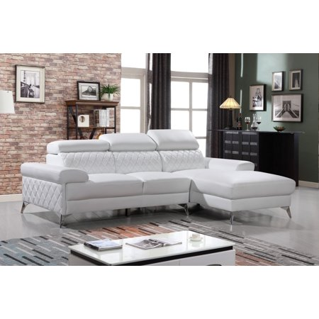 2Pc. Sectional Upholstored Leather-M, Gray or