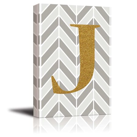 wall26 - The Letter J in Gold Leaf Effect on Geometric Background - Modern Hip Young Art Decor - Canvas Art Home Decor - 24x36 inches - Gold Leaf Collage
