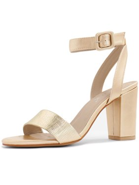 a0d4915b04176 Product Image Unique Bargains Women s Textured Vamp Chunky Heel Ankle Strap  Sandals Silver (Size ...