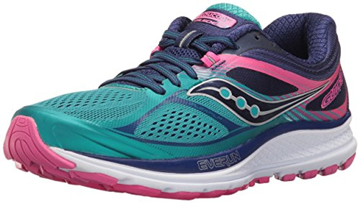 Saucony Women's Guide 10 Running Shoe, 5.5 M US, Teal Navy Pink by